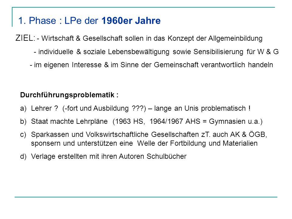 Phase : LPe der 1960er Jahre ZIEL: - Wirtschaft & Gesellschaft sollen in das Konzept der Allgemeinbildung.