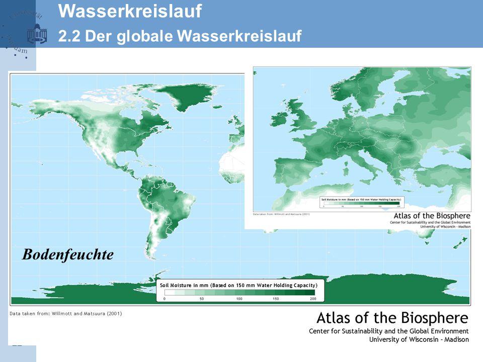 Wasserkreislauf 2.2 Der globale Wasserkreislauf Bodenfeuchte 22