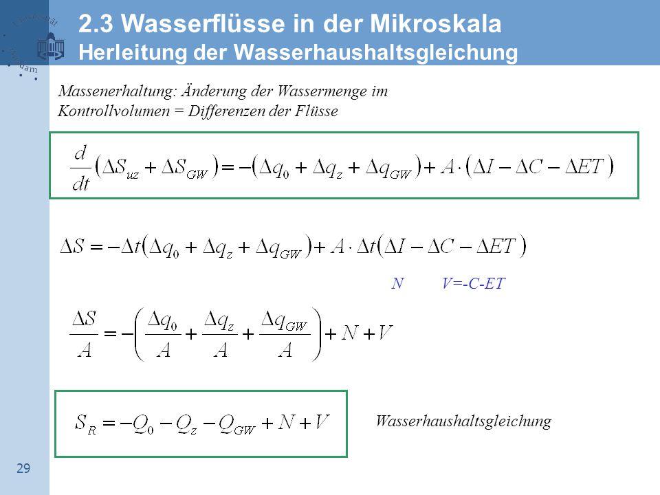 2.3 Wasserflüsse in der Mikroskala Herleitung der Wasserhaushaltsgleichung