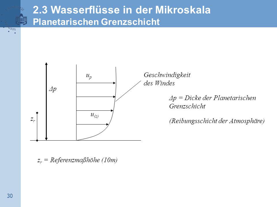 2.3 Wasserflüsse in der Mikroskala Planetarischen Grenzschicht