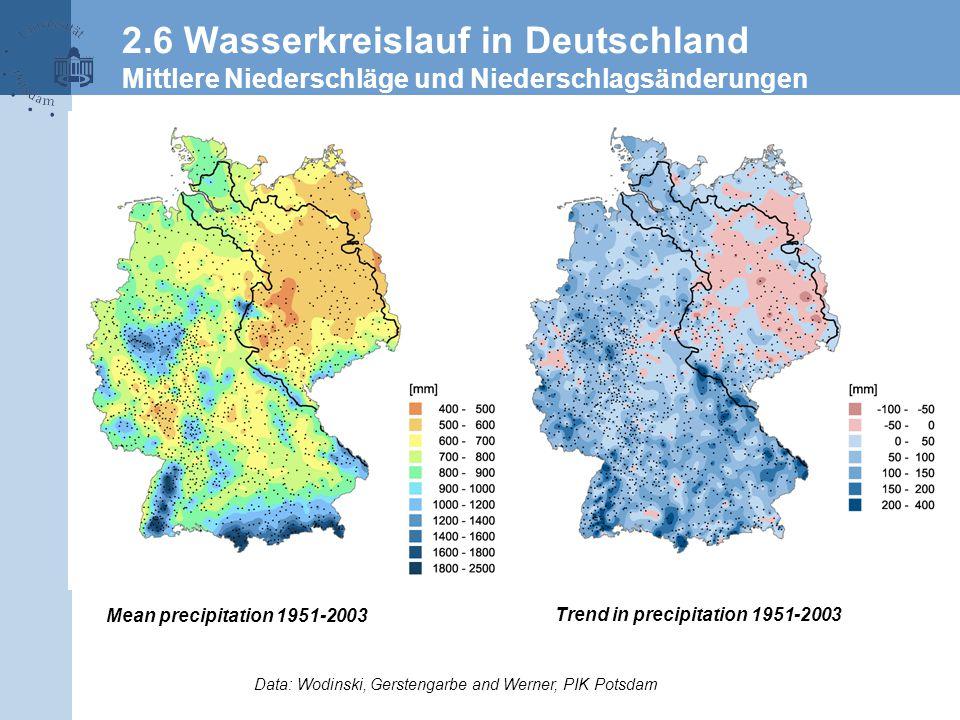 2.6 Wasserkreislauf in Deutschland Mittlere Niederschläge und Niederschlagsänderungen