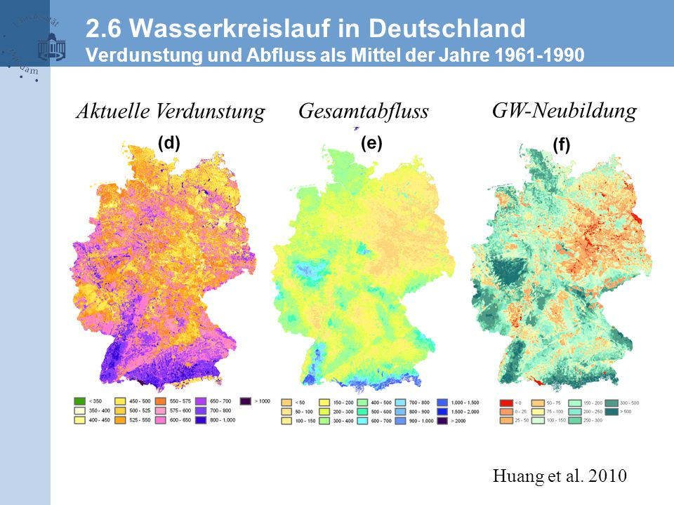 2.6 Wasserkreislauf in Deutschland Verdunstung und Abfluss als Mittel der Jahre 1961-1990