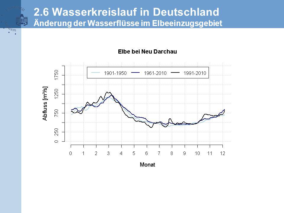 2.6 Wasserkreislauf in Deutschland Änderung der Wasserflüsse im Elbeeinzugsgebiet