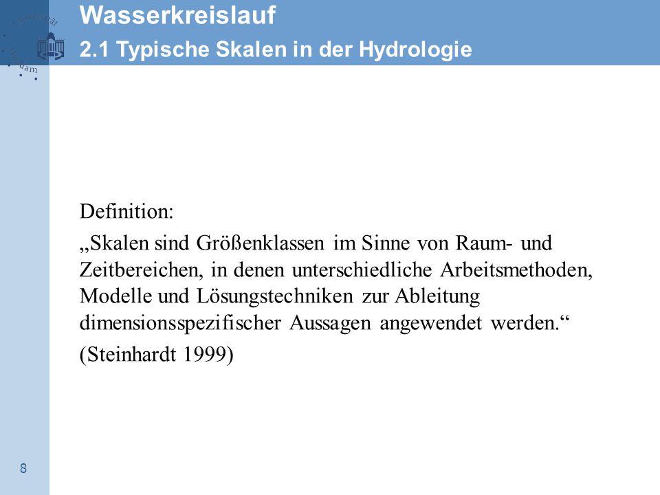 Wasserkreislauf 2.1 Typische Skalen in der Hydrologie Definition: