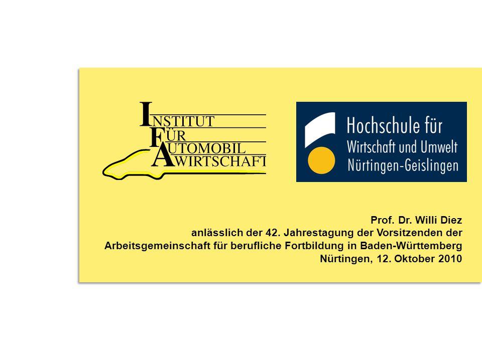 Prof. Dr. Willi Diez anlässlich der 42. Jahrestagung der Vorsitzenden der. Arbeitsgemeinschaft für berufliche Fortbildung in Baden-Württemberg.