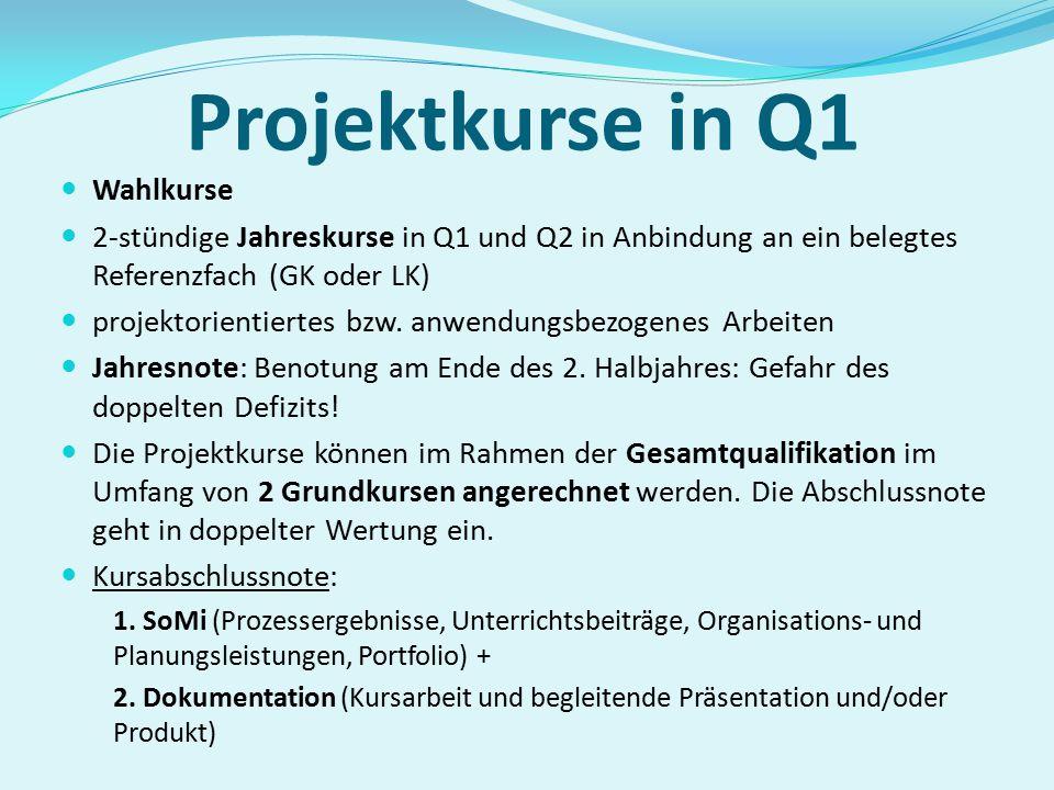 Projektkurse in Q1 Wahlkurse
