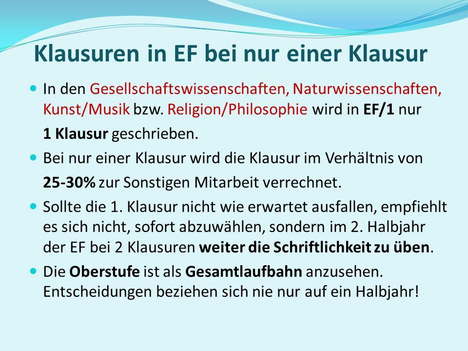 Klausuren in EF bei nur einer Klausur