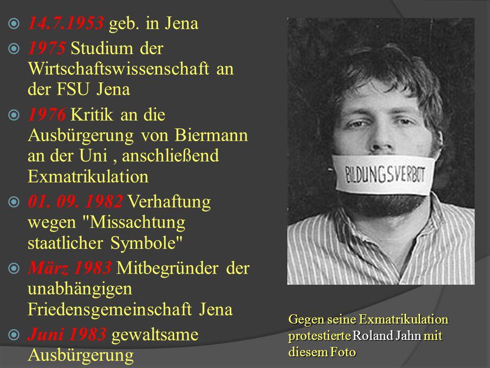 1975 Studium der Wirtschaftswissenschaft an der FSU Jena