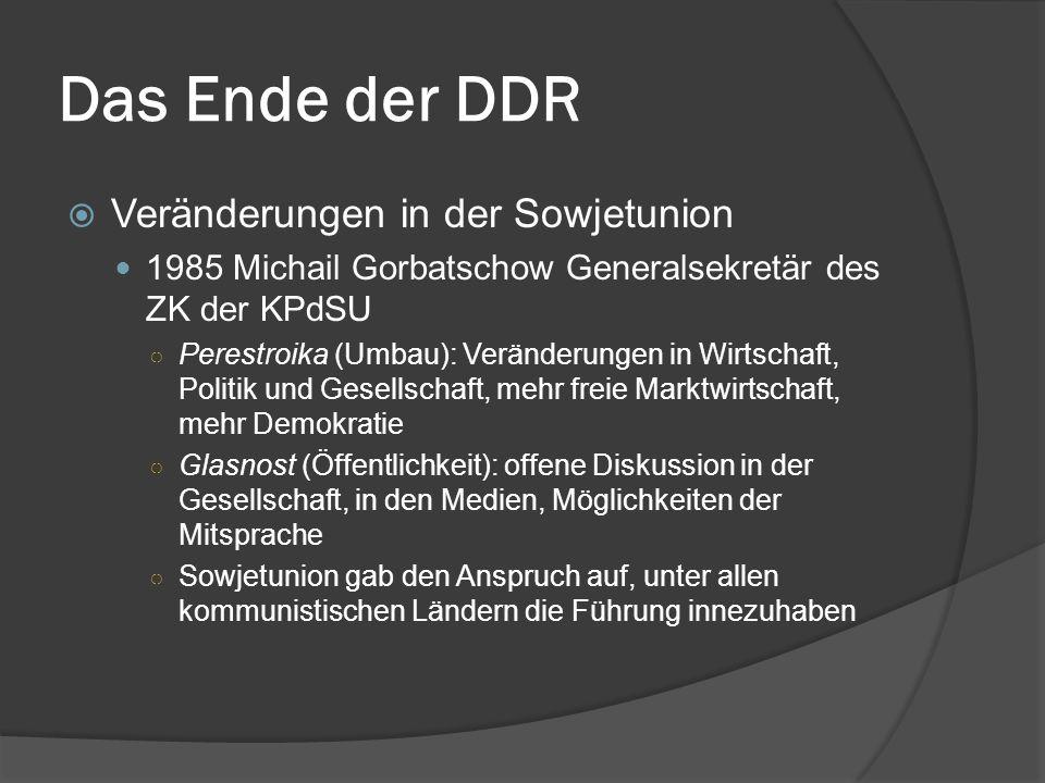 Das Ende der DDR Veränderungen in der Sowjetunion