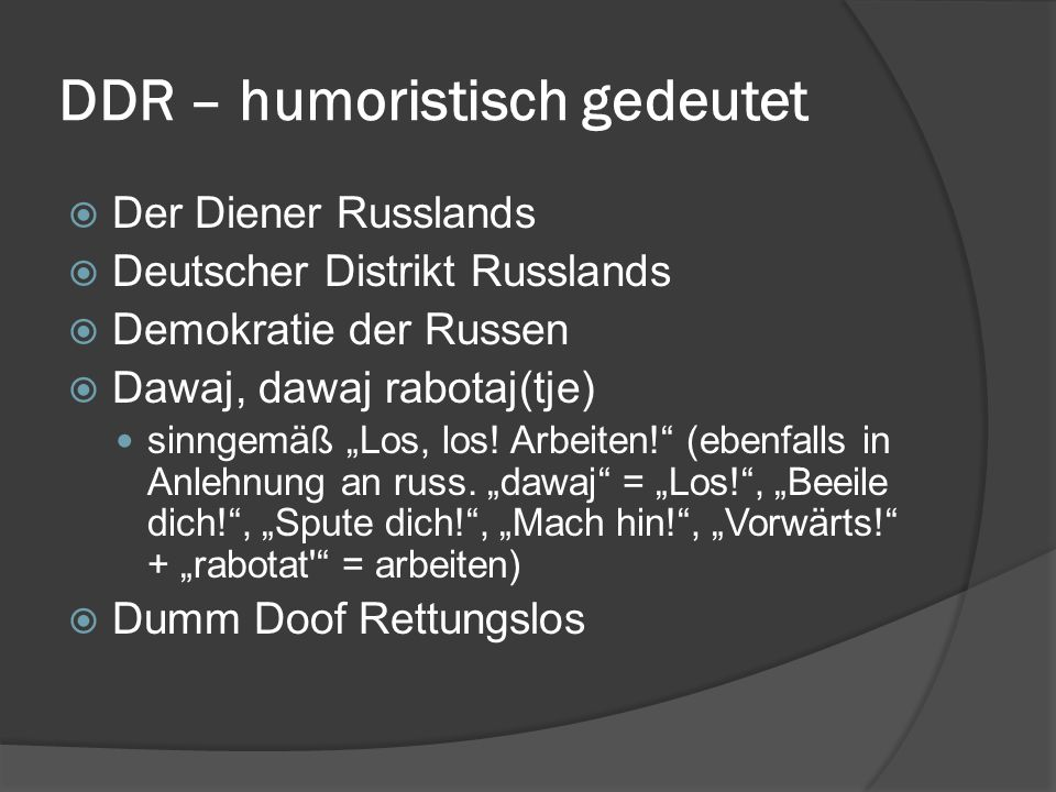DDR – humoristisch gedeutet