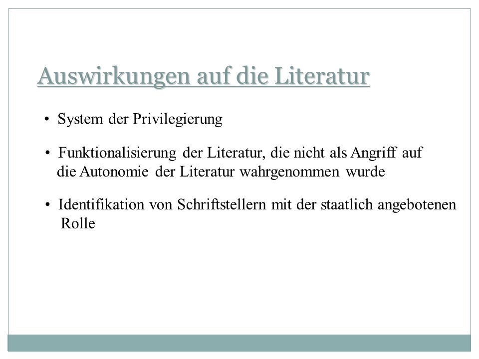 Auswirkungen auf die Literatur