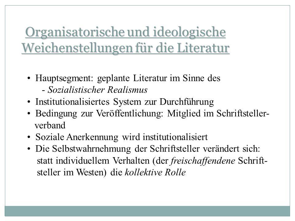 Organisatorische und ideologische Weichenstellungen für die Literatur