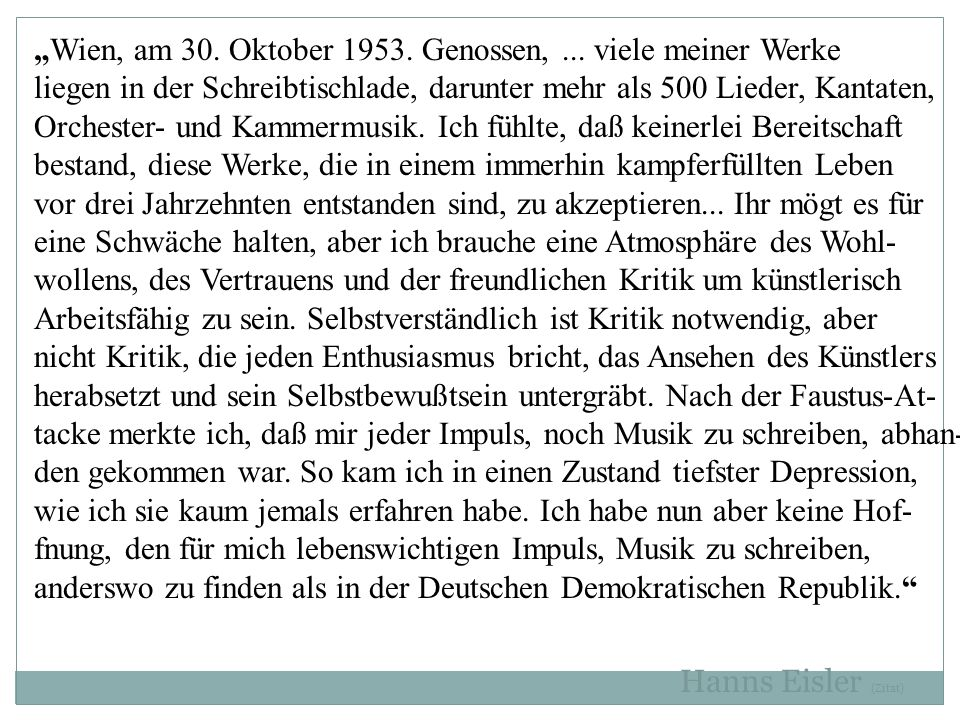 """""""Wien, am 30. Oktober 1953. Genossen, ... viele meiner Werke"""