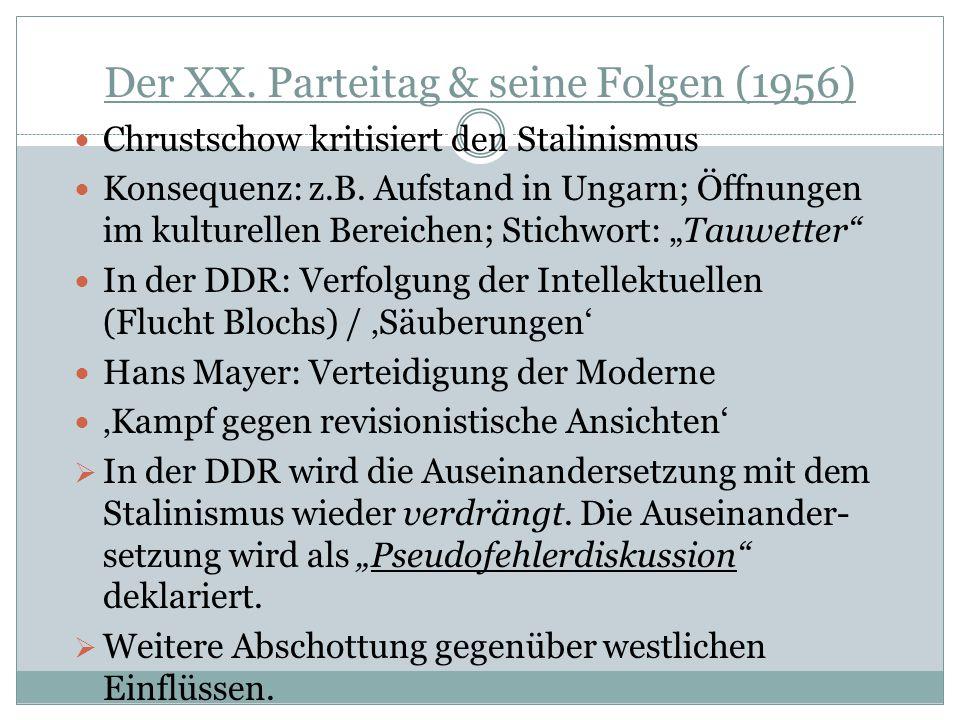 Der XX. Parteitag & seine Folgen (1956)