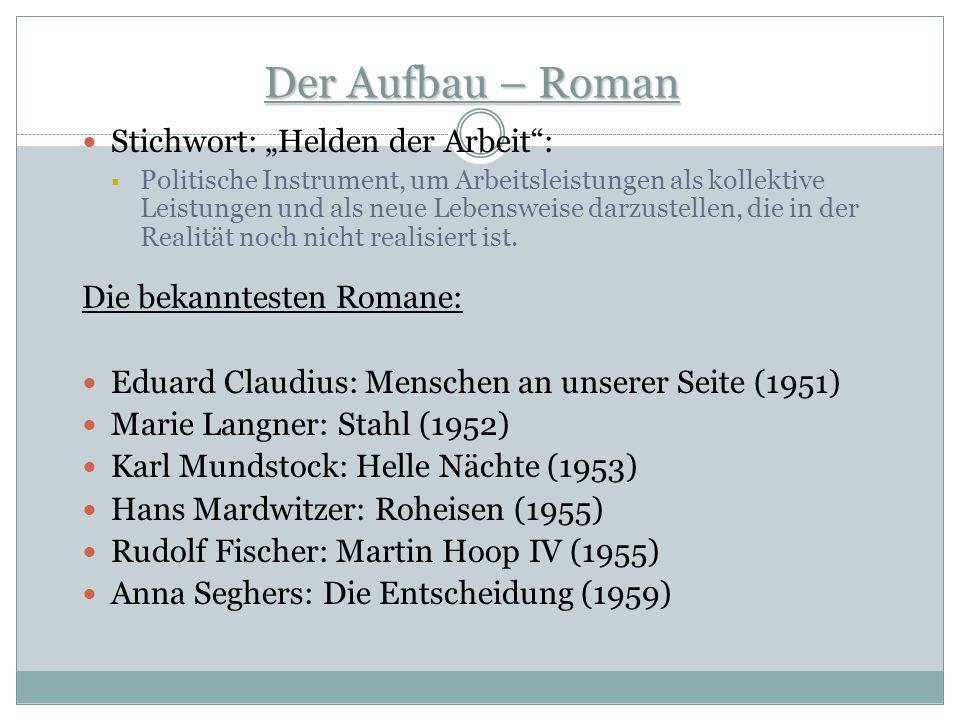 """Der Aufbau – Roman Stichwort: """"Helden der Arbeit :"""