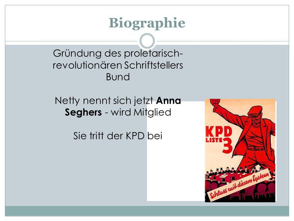 Biographie Gründung des proletarisch- revolutionären Schriftstellers Bund. Netty nennt sich jetzt Anna Seghers - wird Mitglied.