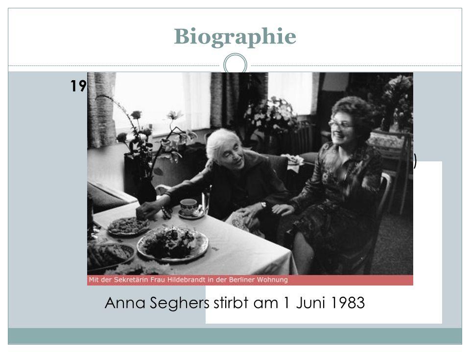 Anna Seghers stirbt am 1 Juni 1983