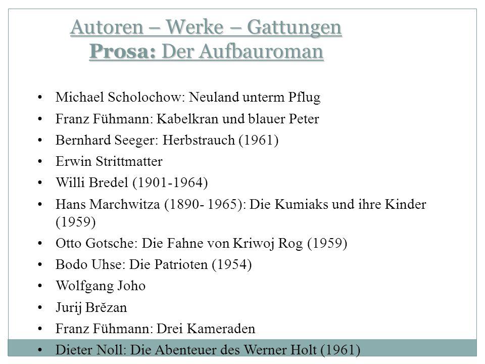Autoren – Werke – Gattungen Prosa: Der Aufbauroman