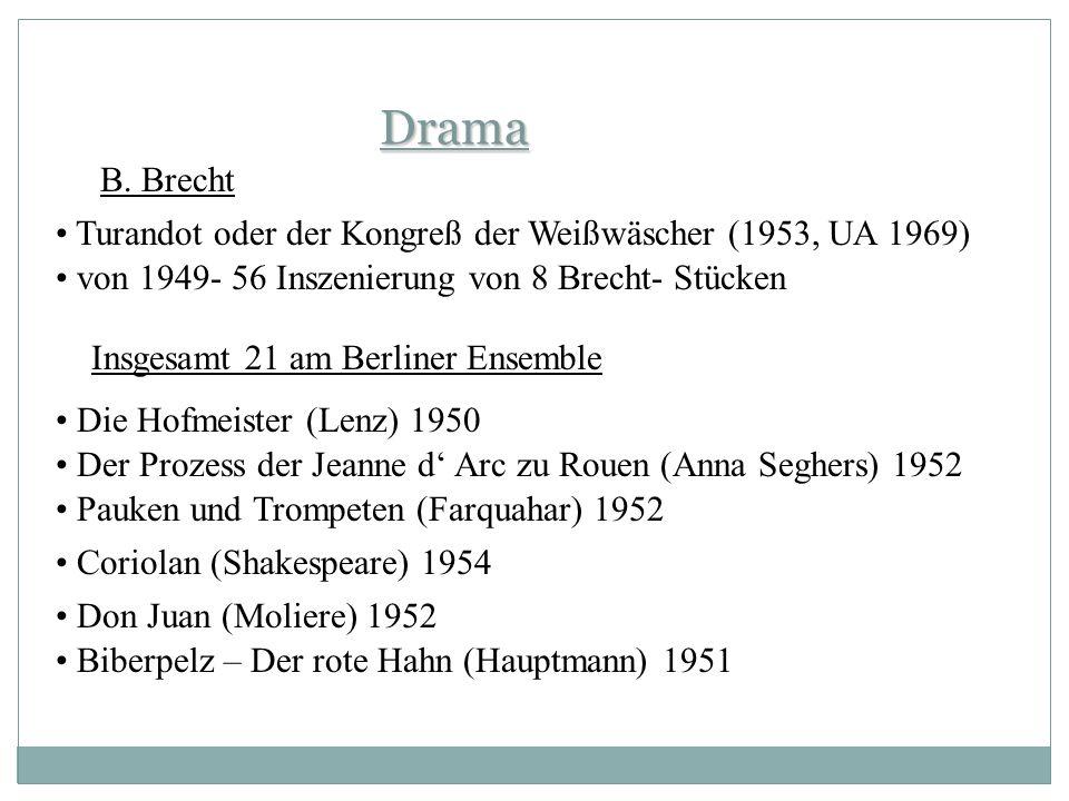 Drama B. Brecht. Turandot oder der Kongreß der Weißwäscher (1953, UA 1969) von 1949- 56 Inszenierung von 8 Brecht- Stücken.