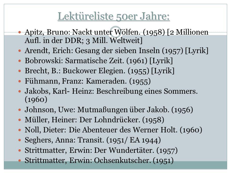 Lektüreliste 50er Jahre: