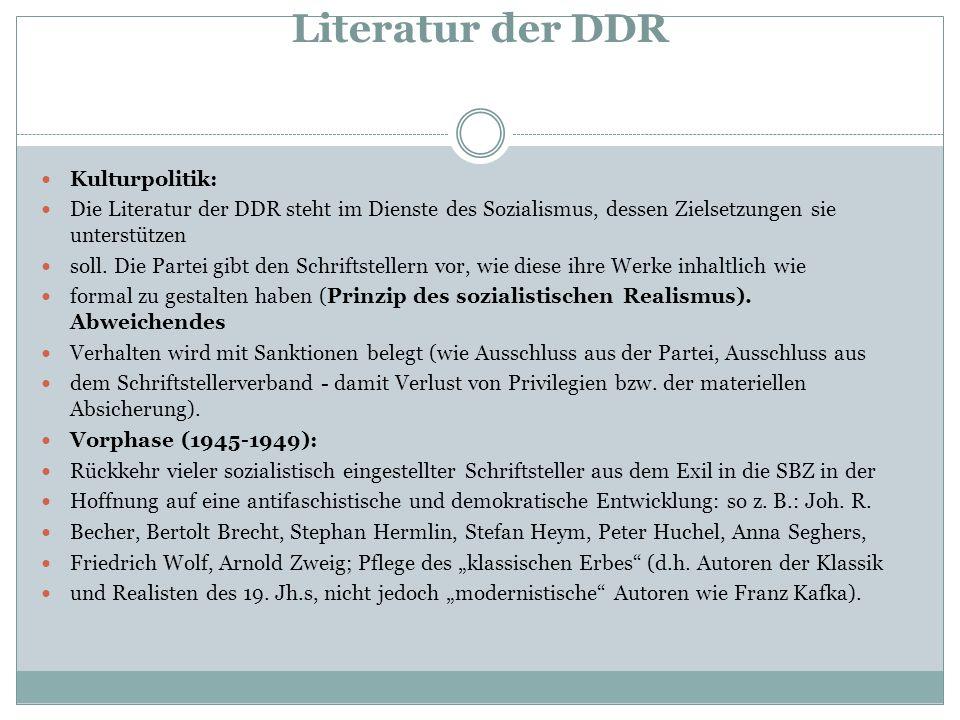 Literatur der DDR Kulturpolitik: