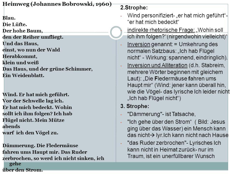 Heimweg (Johannes Bobrowski, 1960) 2.Strophe: