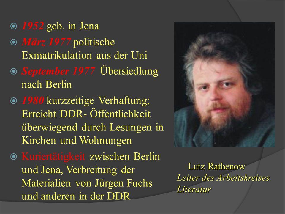 März 1977 politische Exmatrikulation aus der Uni