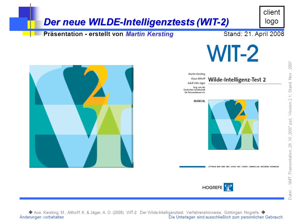 Der neue WILDE-Intelligenztests (WIT-2)