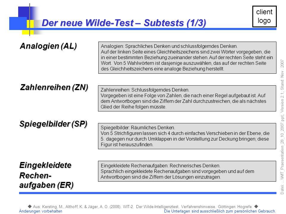 Der neue Wilde-Test – Subtests (1/3)