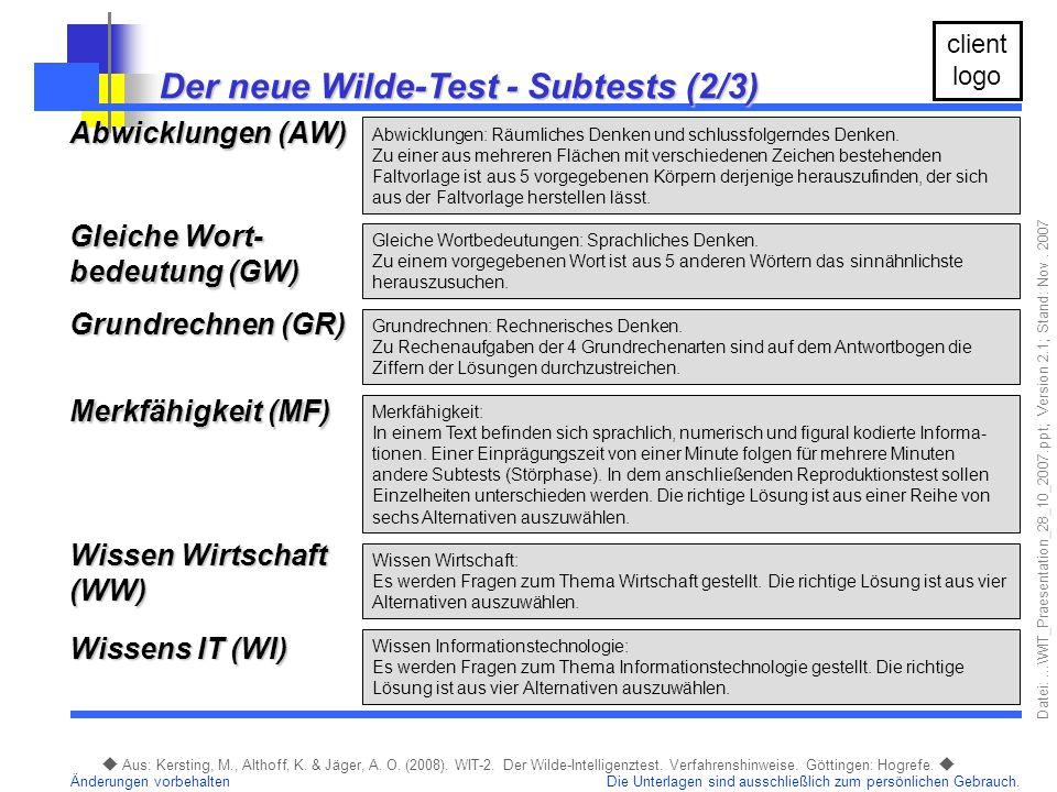 Der neue Wilde-Test - Subtests (2/3)