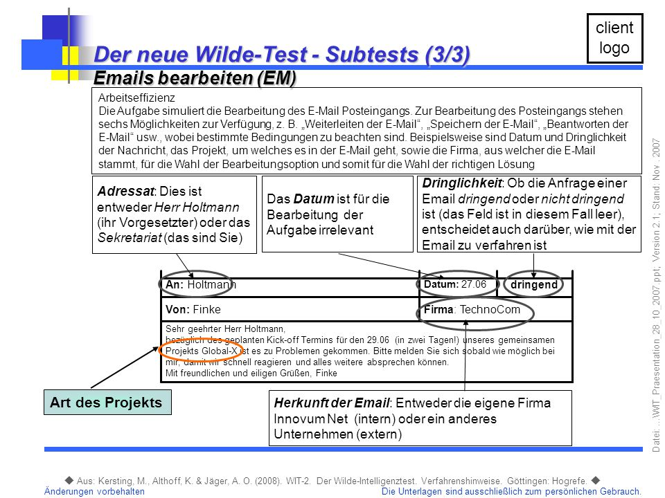Der neue Wilde-Test - Subtests (3/3)