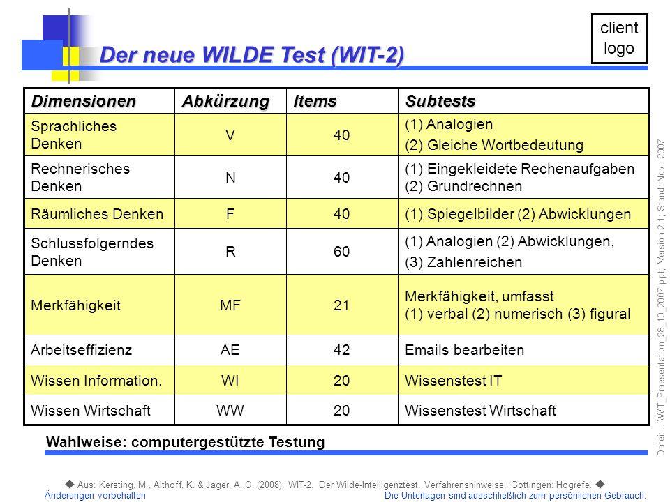 Der neue WILDE Test (WIT-2)