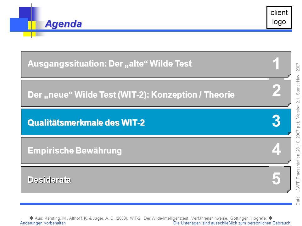 """1 2 3 4 5 Agenda Ausgangssituation: Der """"alte Wilde Test"""