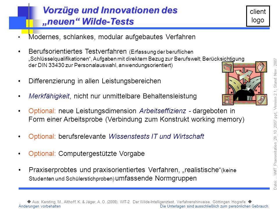"""Vorzüge und Innovationen des """"neuen Wilde-Tests"""