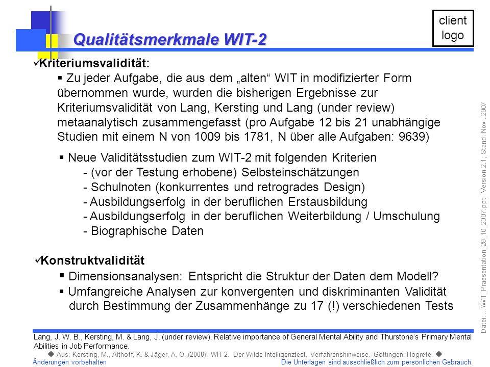 Qualitätsmerkmale WIT-2