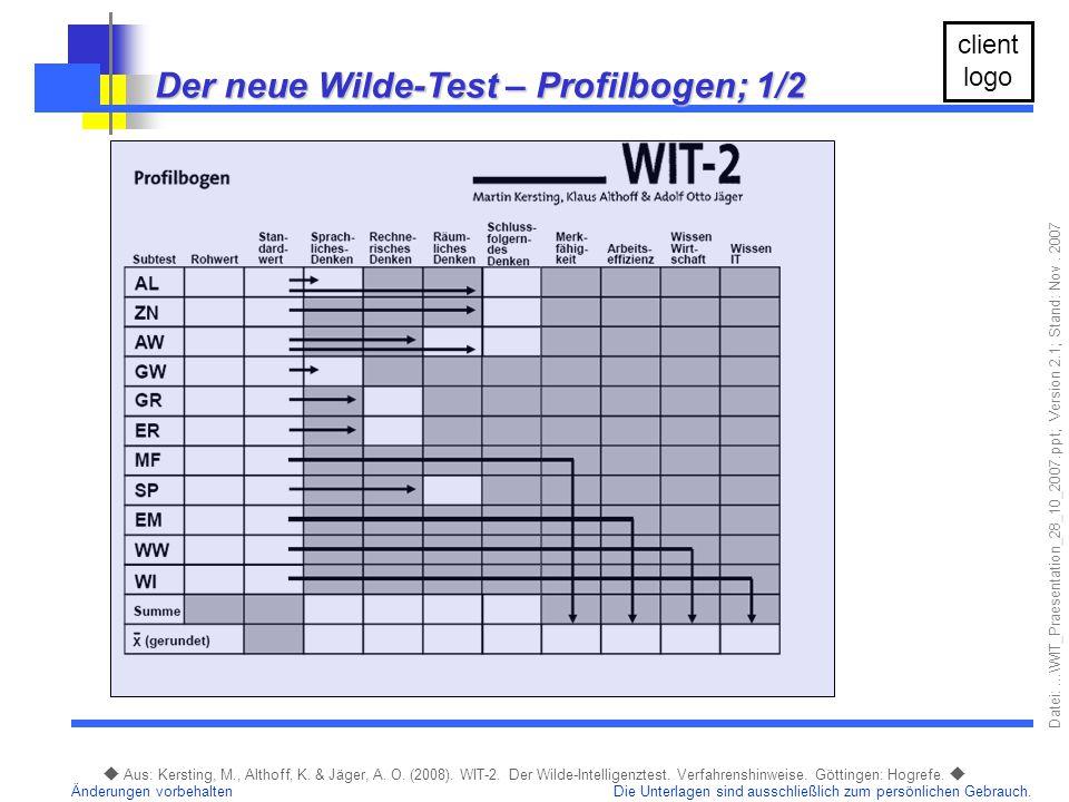 Der neue Wilde-Test – Profilbogen; 1/2