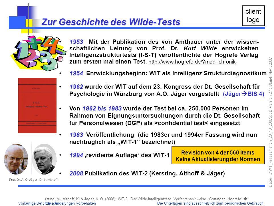 Zur Geschichte des Wilde-Tests