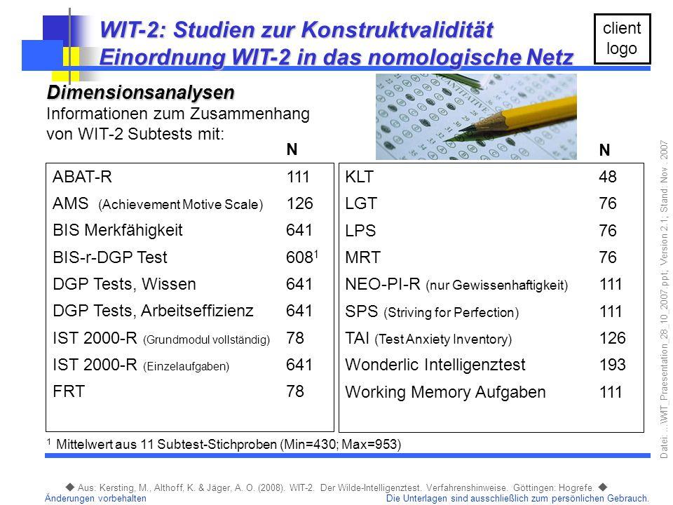 WIT-2: Studien zur Konstruktvalidität
