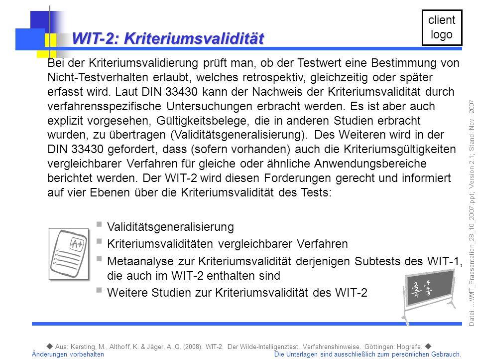 WIT-2: Kriteriumsvalidität