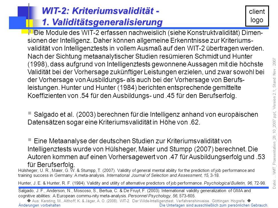 WIT-2: Kriteriumsvalidität - 1. Validitätsgeneralisierung