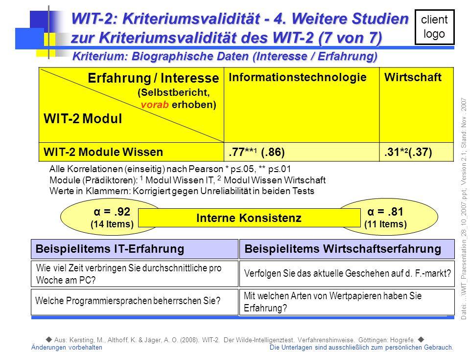 WIT-2: Kriteriumsvalidität - 4