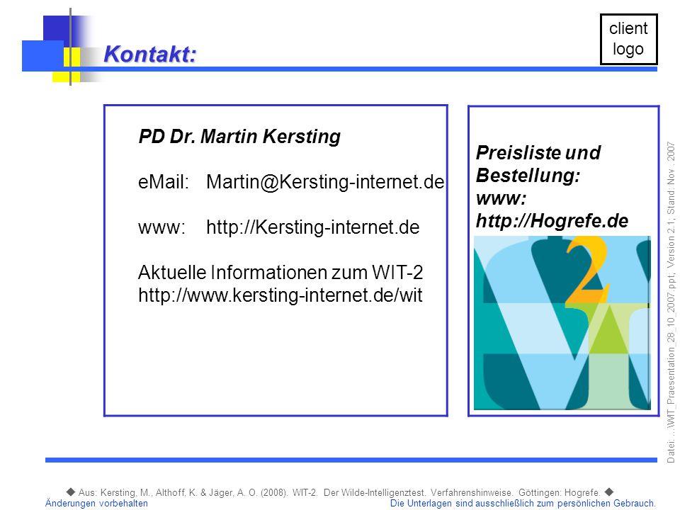 Kontakt: PD Dr. Martin Kersting Preisliste und Bestellung:
