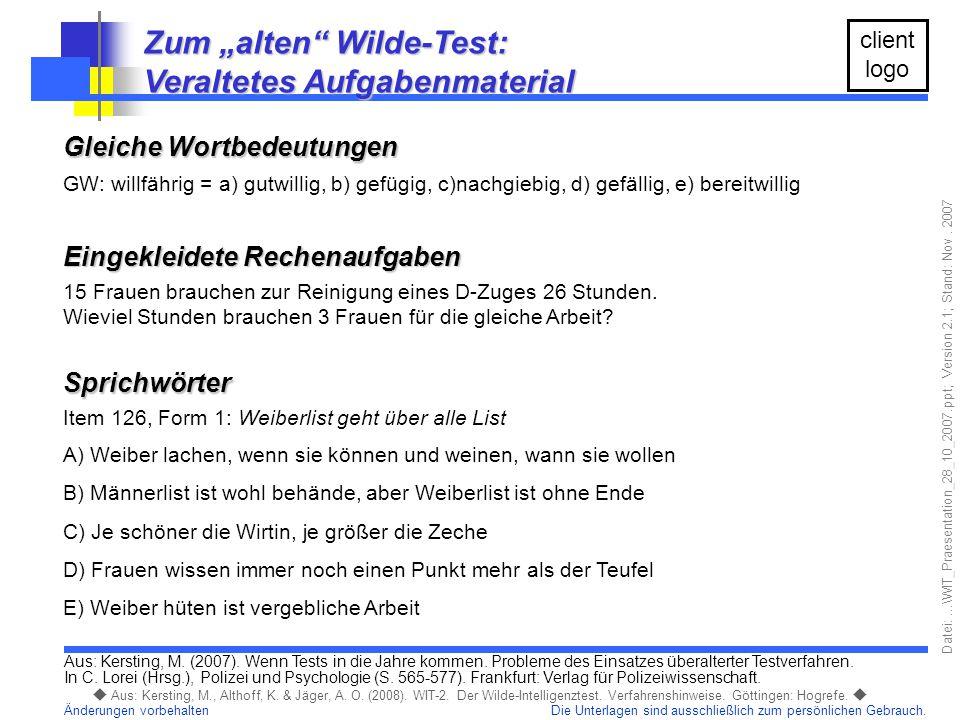 """Zum """"alten Wilde-Test: Veraltetes Aufgabenmaterial"""