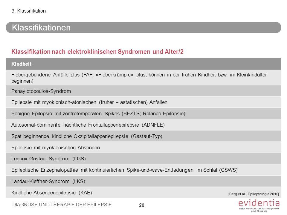 3. Klassifikation Klassifikationen. Klassifikation nach elektroklinischen Syndromen und Alter/2. Kindheit.