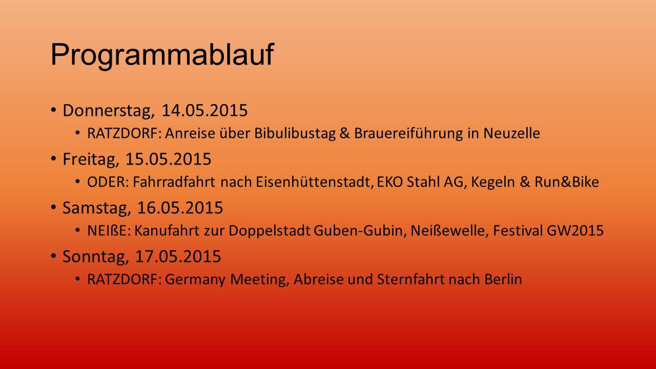 Programmablauf Donnerstag, 14.05.2015 Freitag, 15.05.2015
