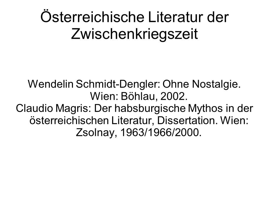 Österreichische Literatur der Zwischenkriegszeit