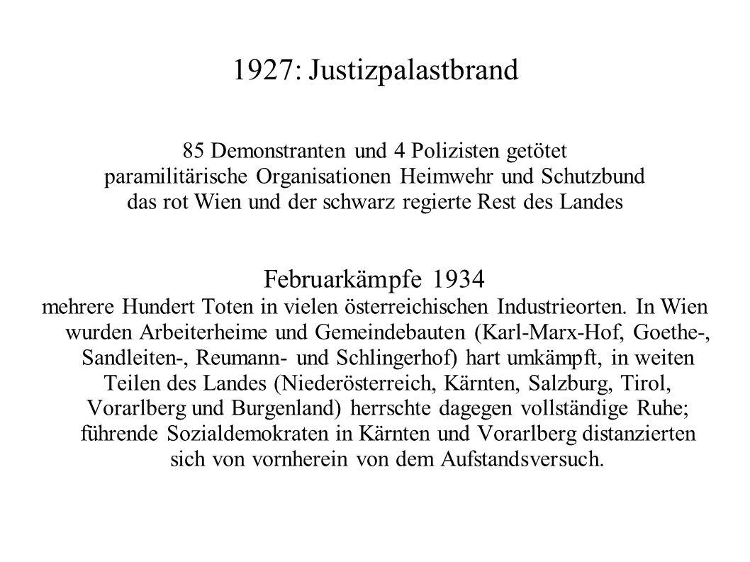 1927: Justizpalastbrand Februarkämpfe 1934