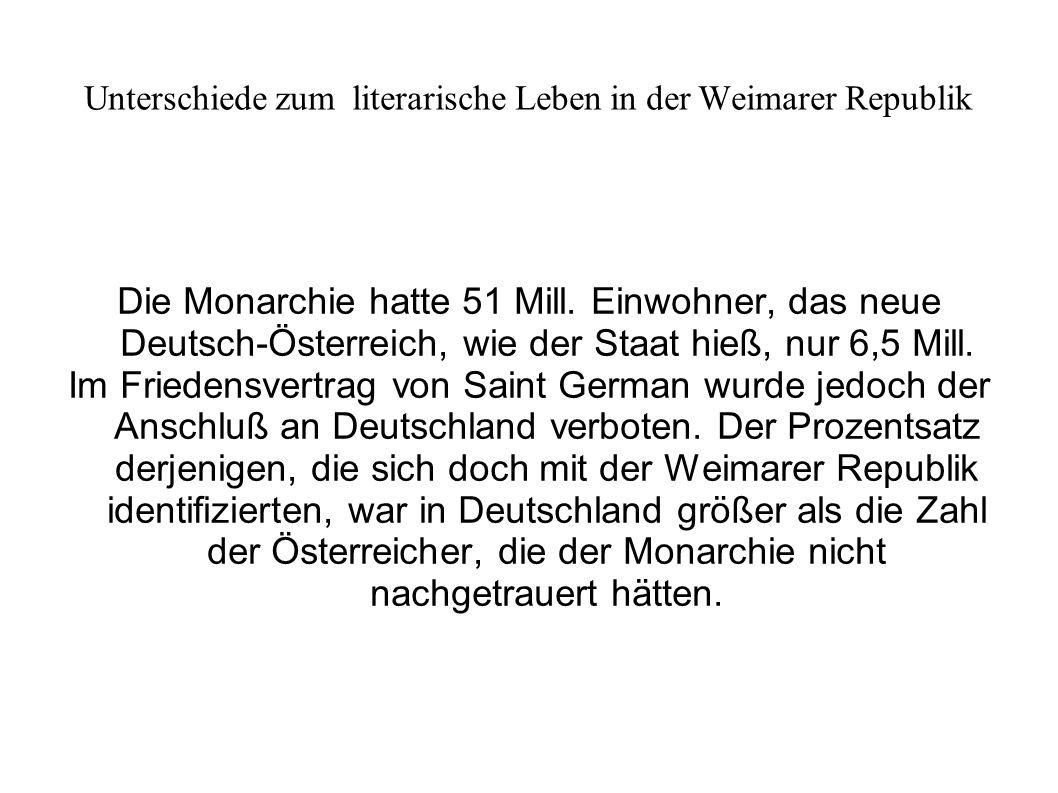 Unterschiede zum literarische Leben in der Weimarer Republik