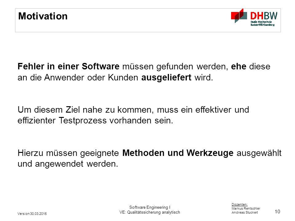 Motivation Fehler in einer Software müssen gefunden werden, ehe diese an die Anwender oder Kunden ausgeliefert wird.