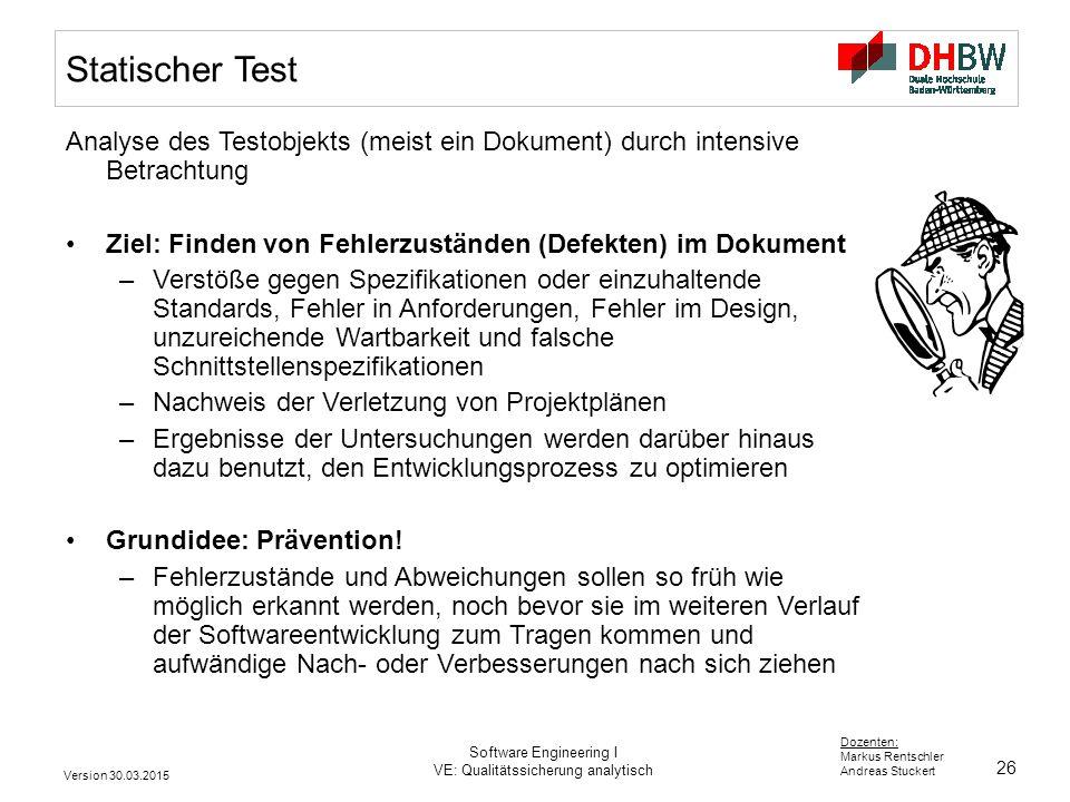 Statischer Test Analyse des Testobjekts (meist ein Dokument) durch intensive Betrachtung. Ziel: Finden von Fehlerzuständen (Defekten) im Dokument.